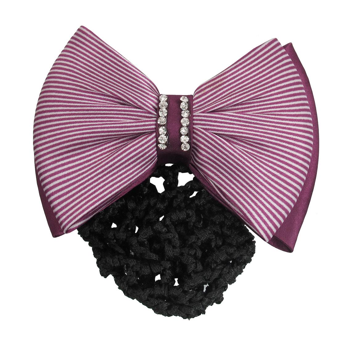 Black Velvet Burgundy Striped Polyester Bowknot Hair Clip w Snood Net