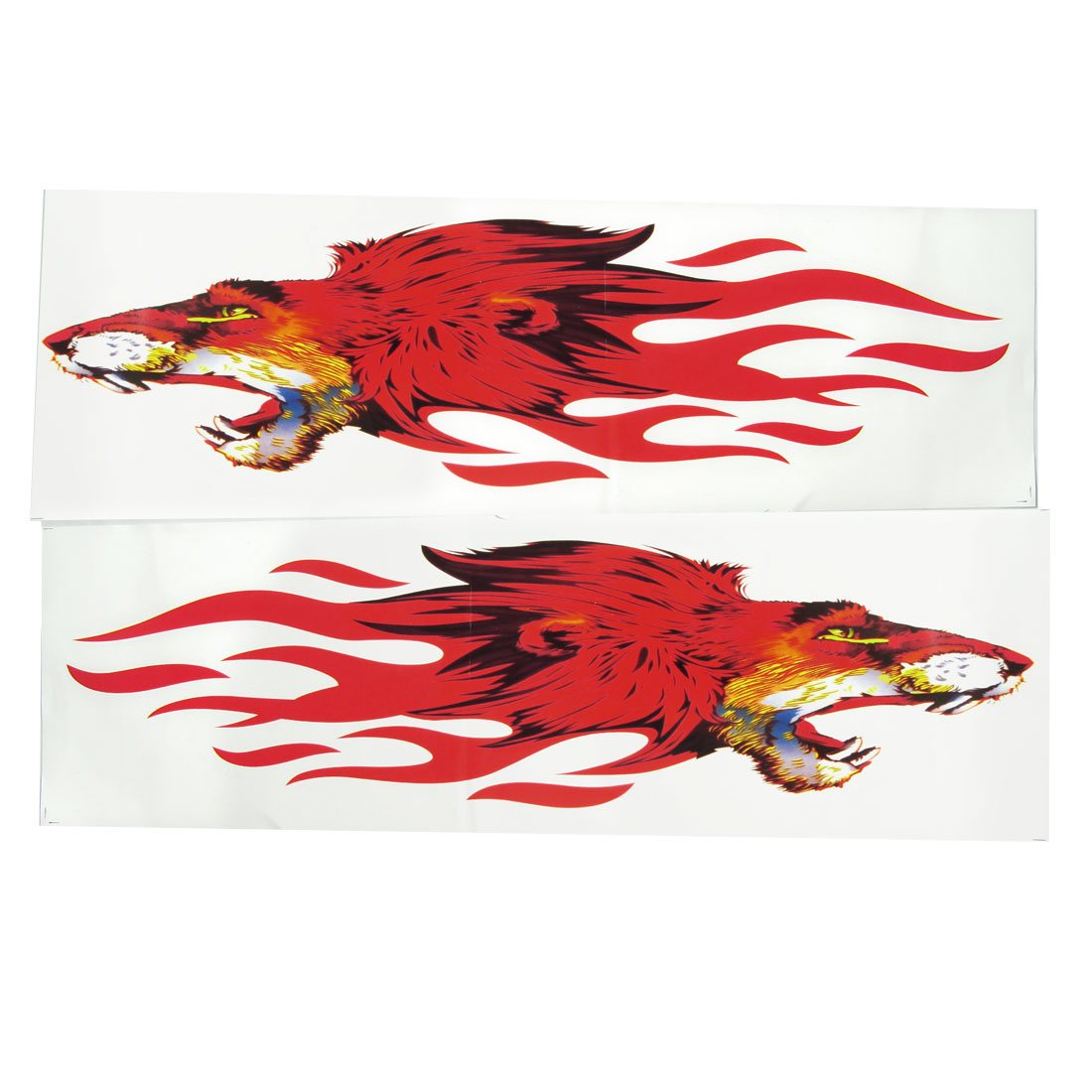 Car Auto Leopard Fiery Blaze Fire Style Sticker Red Black 2 Pcs