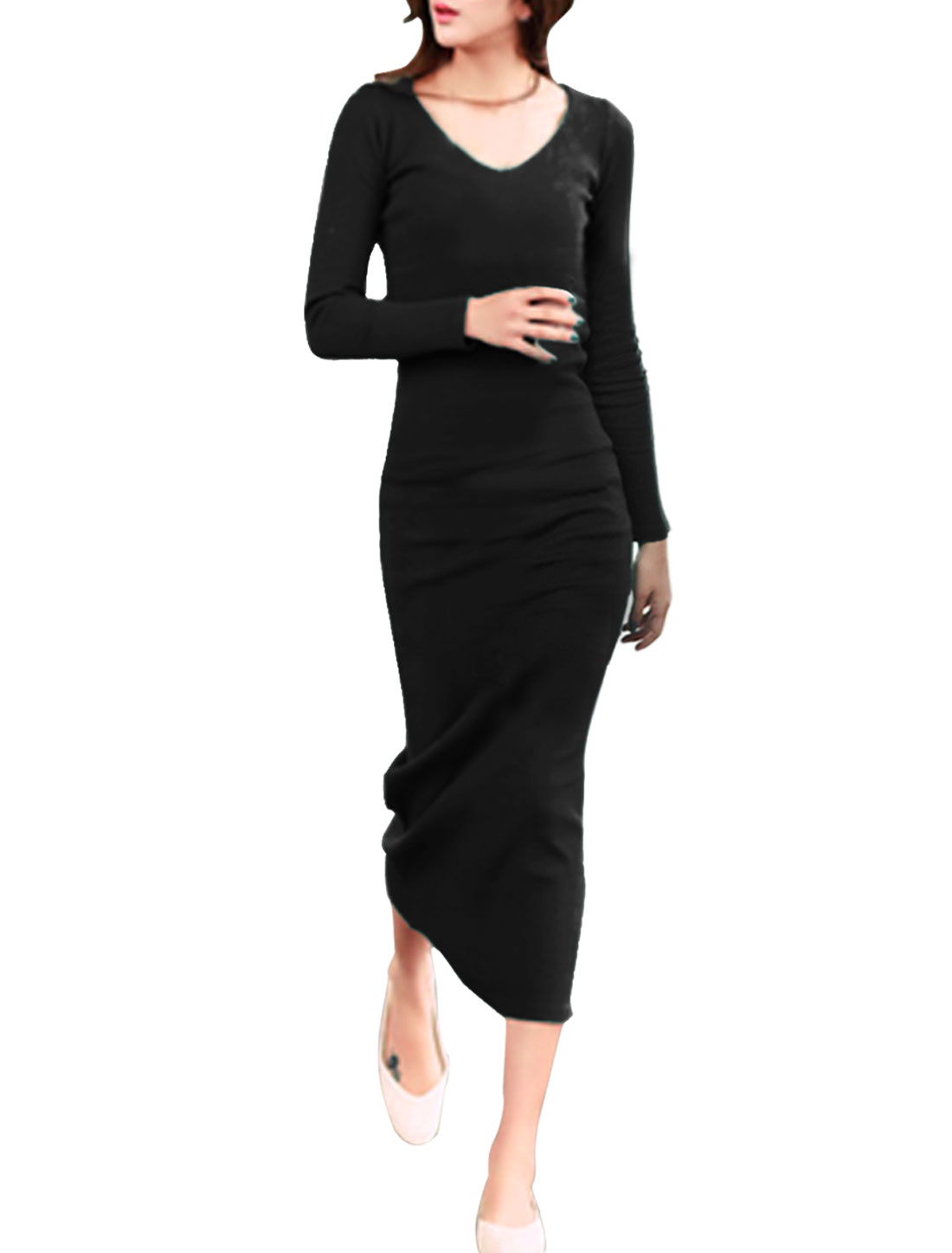 Women Black Scoop Neck Long Sleeve Spring Casual Long Dress S