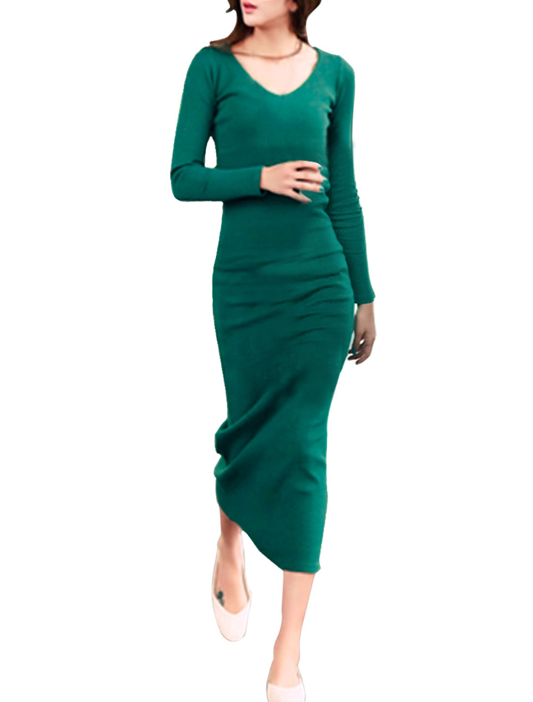 Women Scoop Neck Long Sleeves Slim Fit Midi Dress Dark Green S