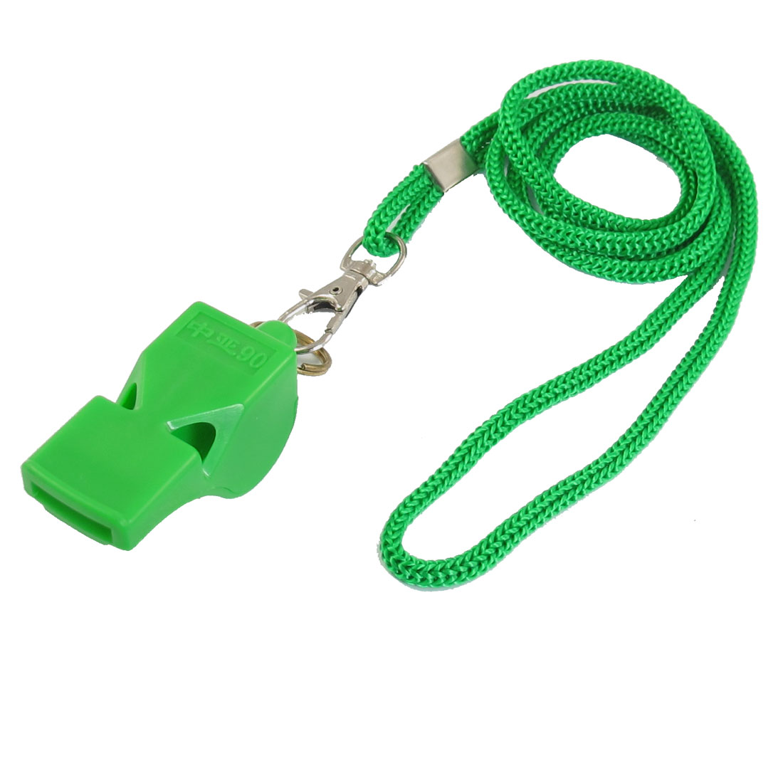 Sports Match Green Plastic Whistle Toy w Neck Strap