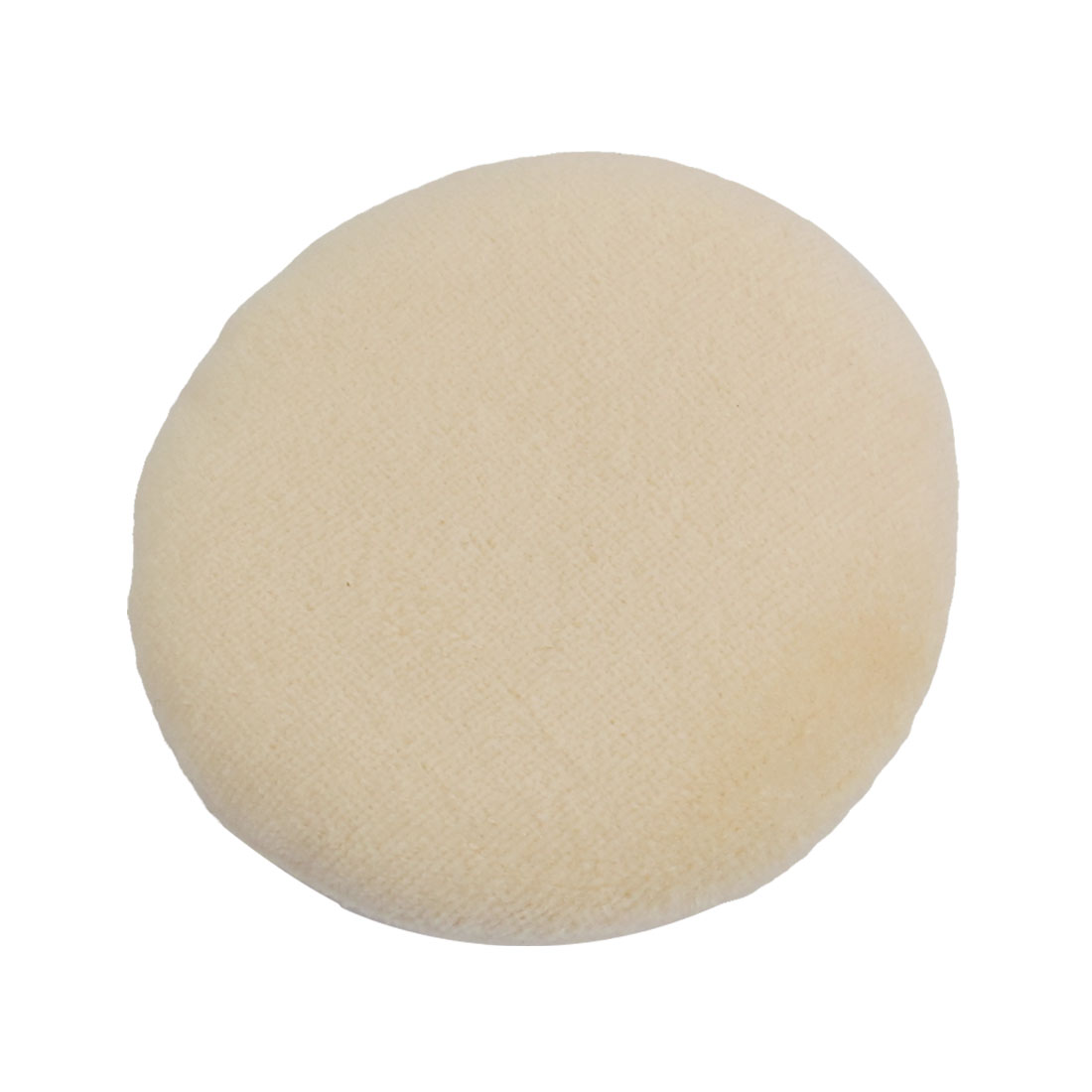 Beige Plush Sponge Round Shaped Facial Makeup Powder Puff for Lady