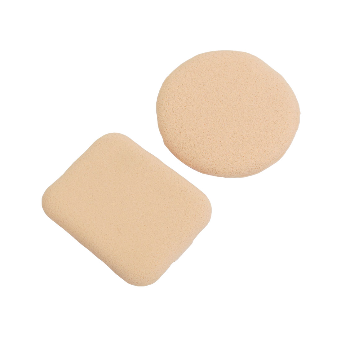 Pair Round Rectangle Shaped Sponge Makeup Facial Powder Puff Beige