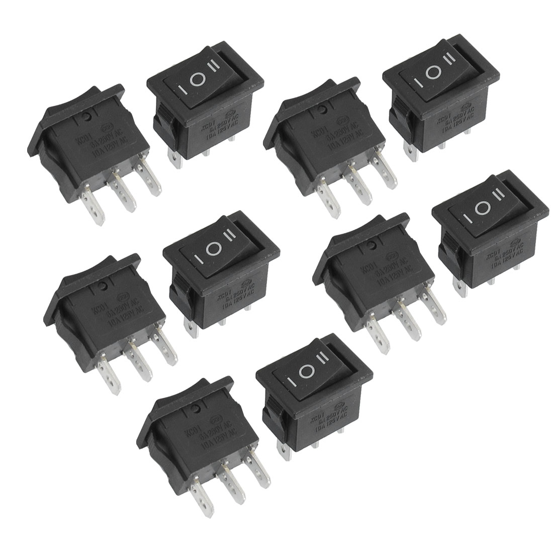 10 Pcs ON-OFF-ON SPST 3 Pin Snap In Rocker Switch 6A/250V 10A/125V AC