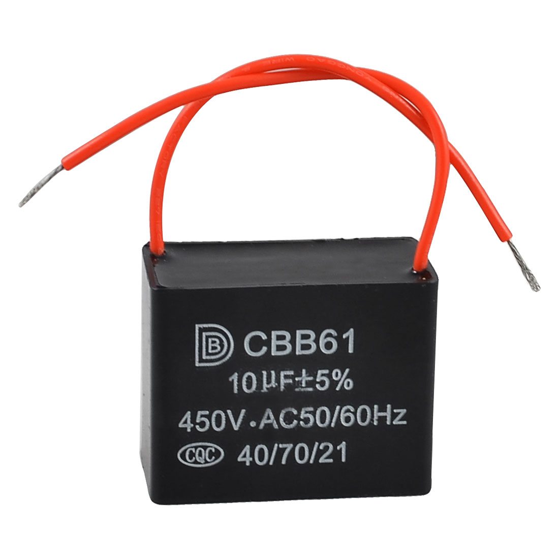 AC 450V 10uF 2 Red Connection Leads Motor Run Capacitor for Ceiling Fan