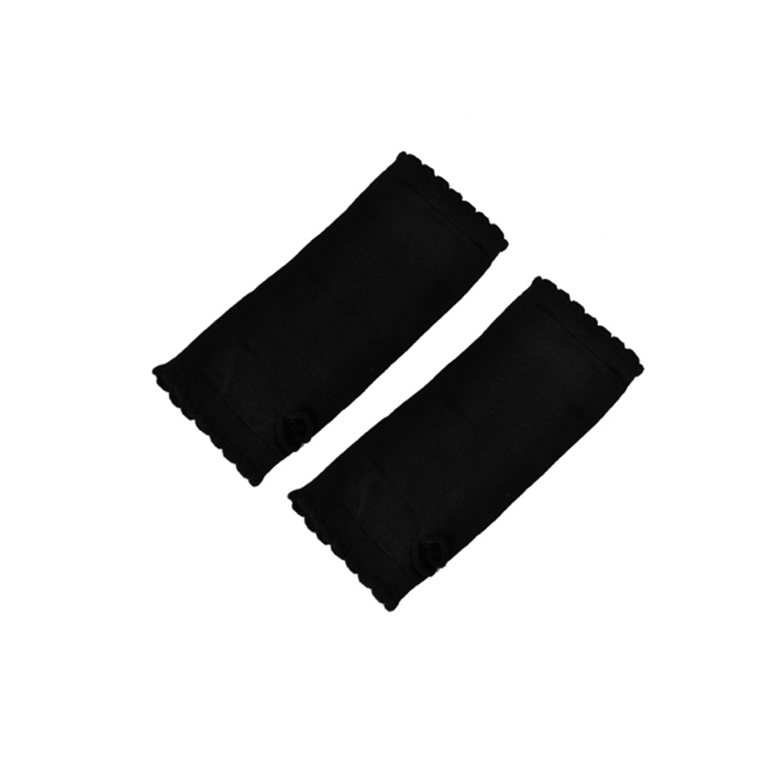 Women Black Wavy Hem Fingerless Mittens Palm Warmers Pair