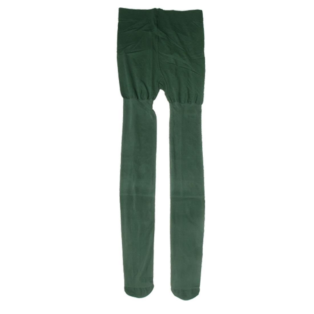 Woman Elastic Skinny Pantyhose Tights Full Foot Leggings Dark Green XS