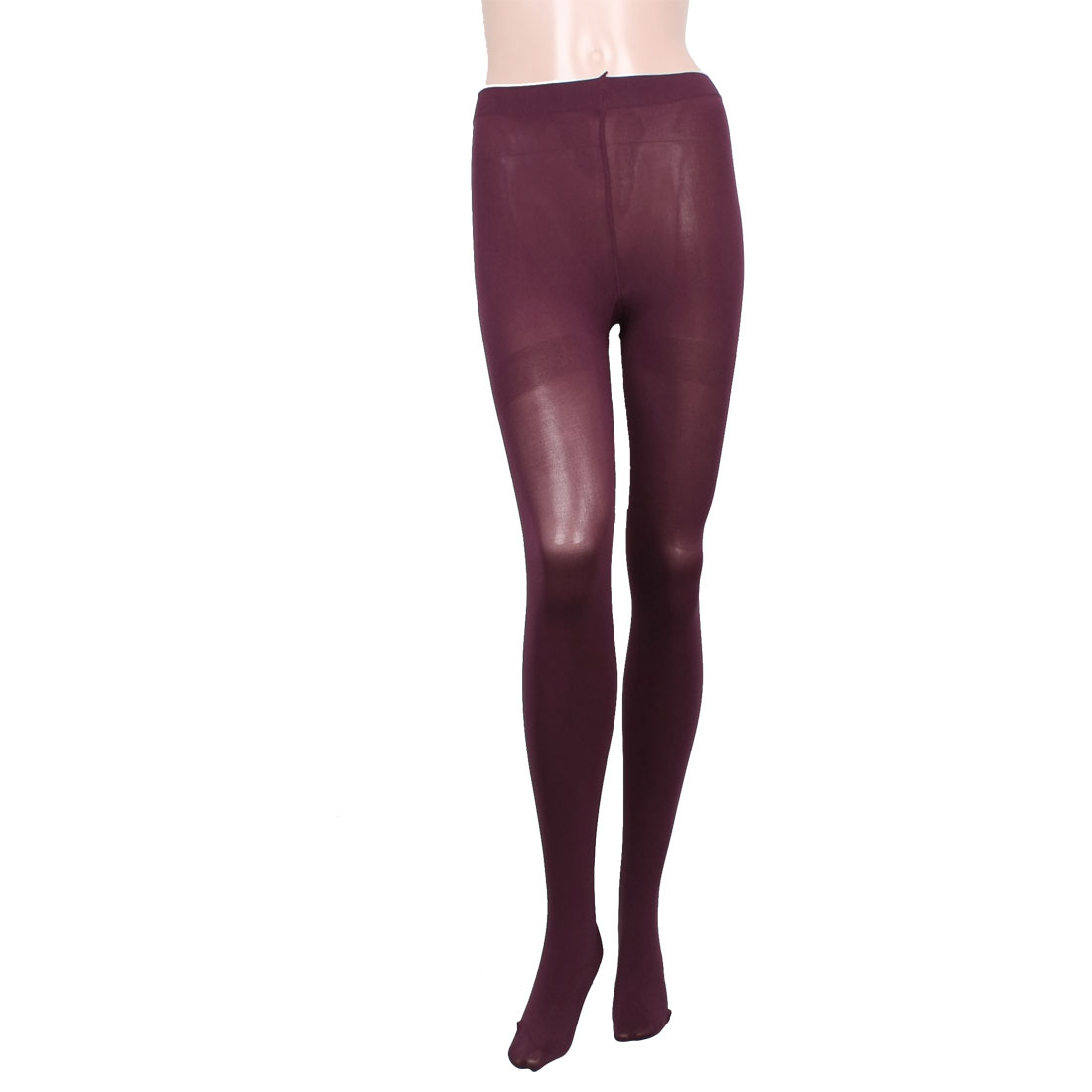 Women Burgundy Stretch Nylon Tights Leggings Pantyhose Stockings XS