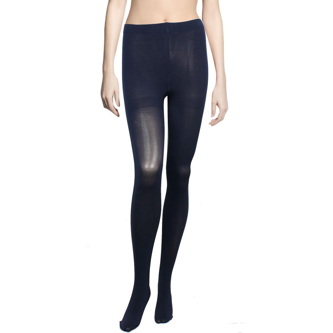 Woman Elastic Waist Closefitting Pantyhose Leggings Navy Blue XS