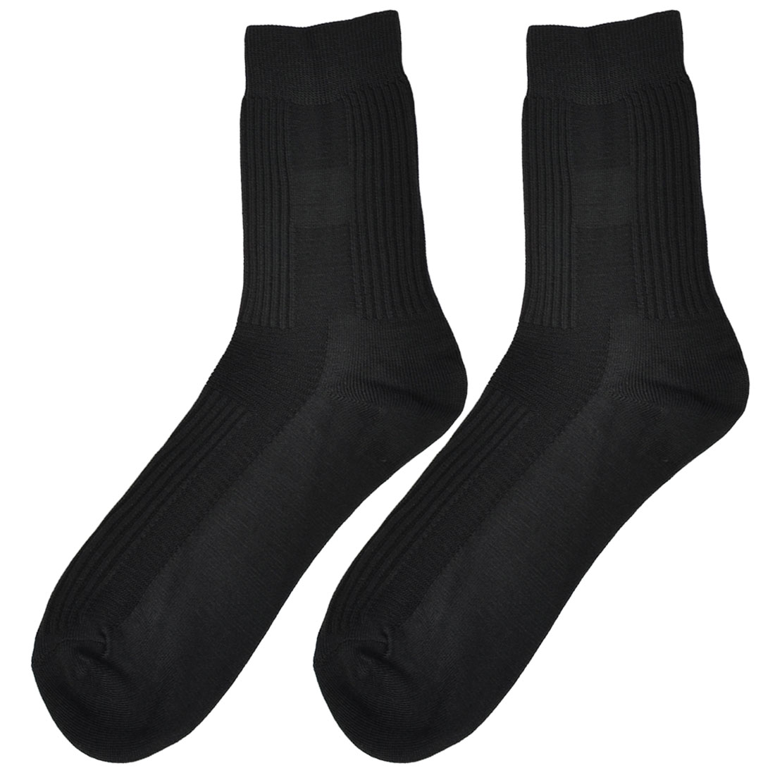 2 Pcs Black Cotton Blends Ribbed Elastic Warm Socks for Men