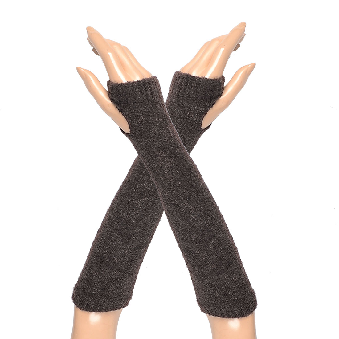 Lady Soft Fleece Thumb Hole Fingerless Gloves Elbow Warmers Coffee Color