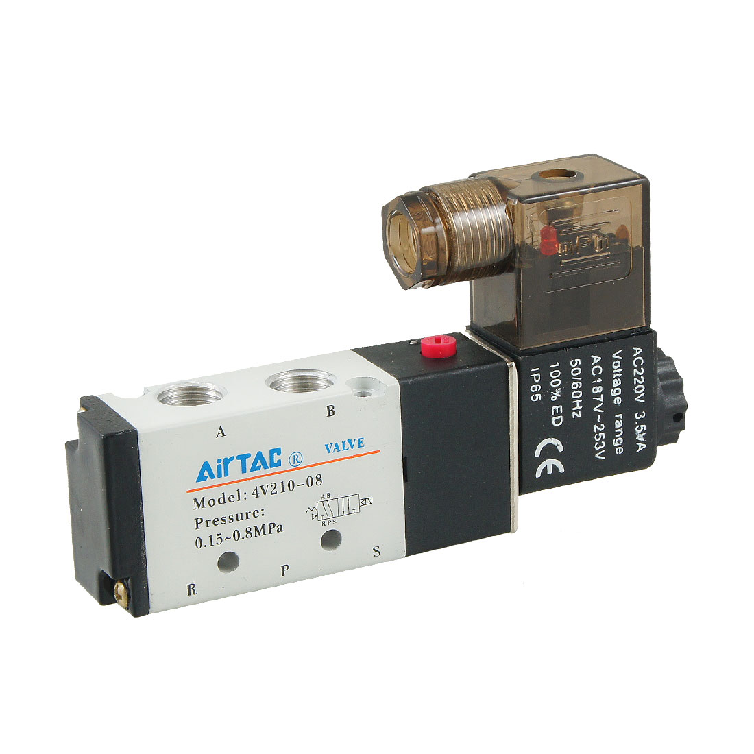 AC 220V 3.5VA Single Coil 2 Position 5 Way Solenoid Valve 4V210-08
