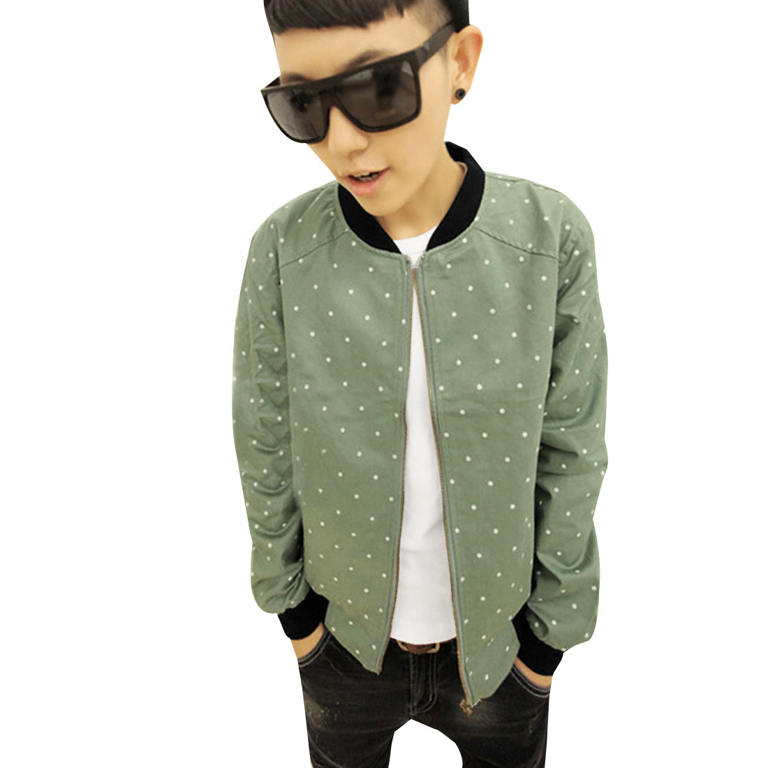 Men Pale Green Fashion Dots Pattern Zipped Closure Slant Pockets Autumn Jacket M