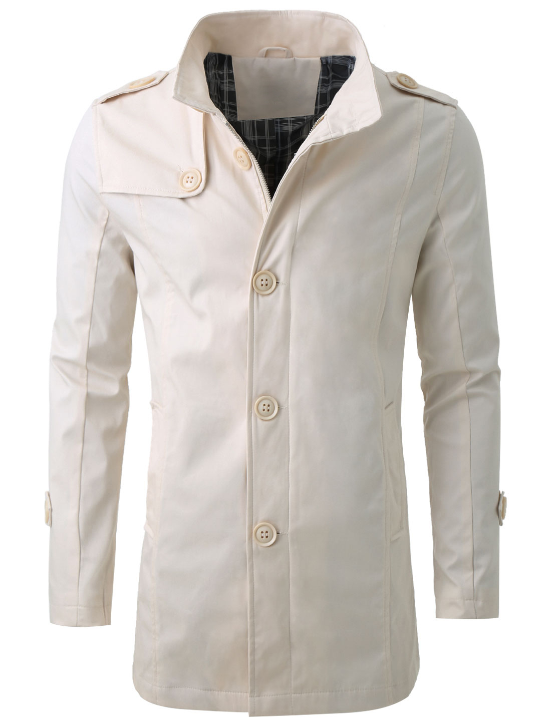 Mens Stand Collar Inside Pocket Design Stylish Beige Trench Coat M
