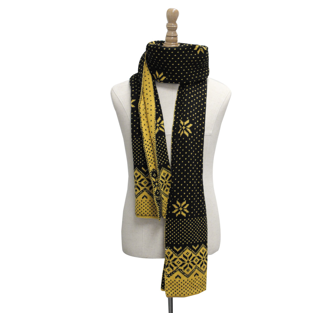 Mens Black Yellow Snowflakes Pattern Chrismas Reversible Knit Scarf