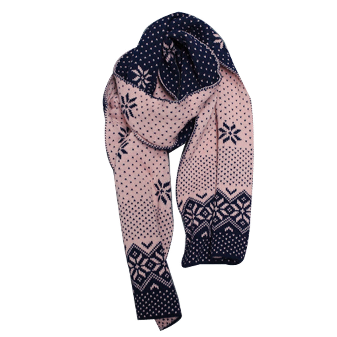 Mens Black Dark Blue Snowflakes Pattern Knitting Neck Warmer Scarf
