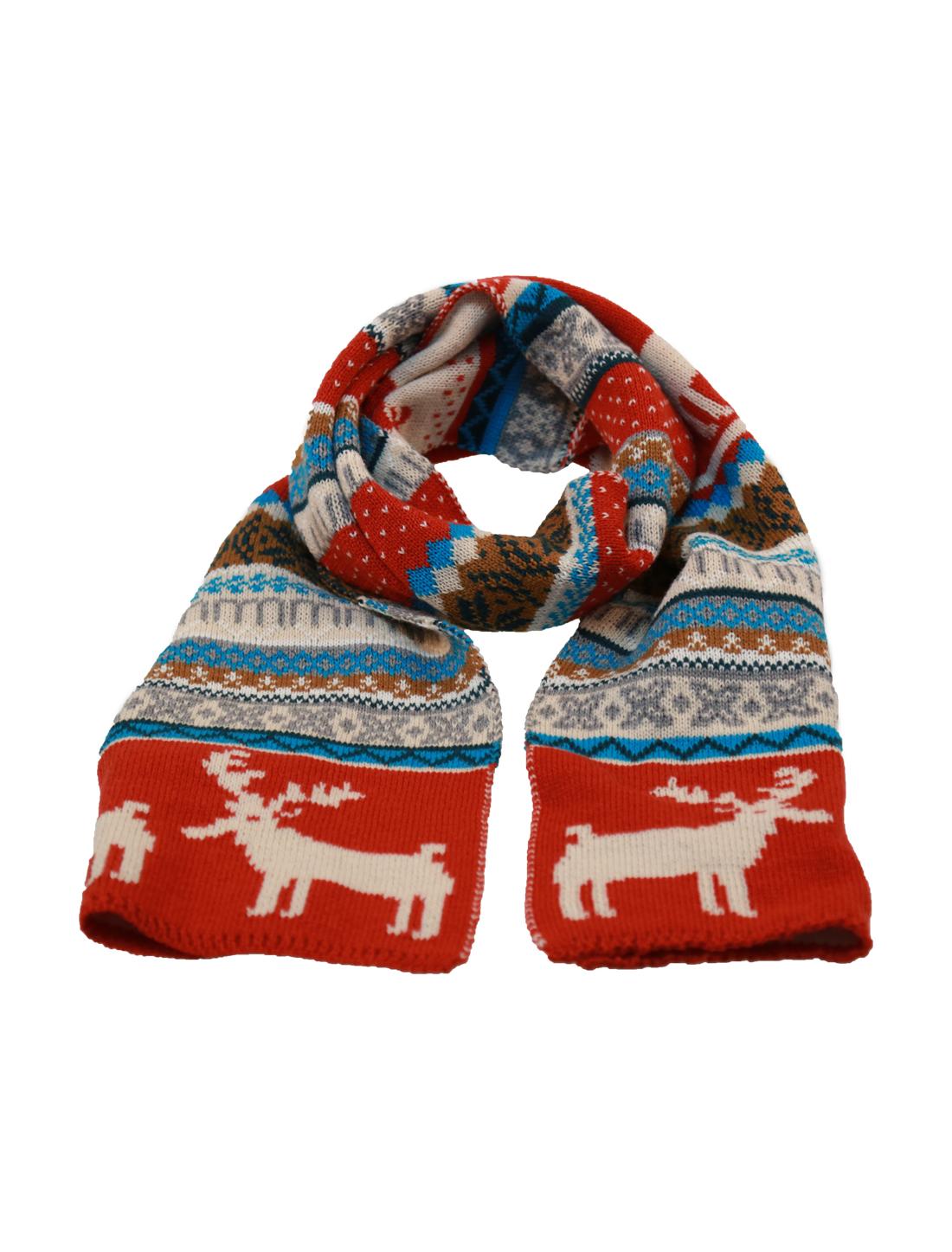 Mens Khaki Rust Reindeer Pattern Chrismas Reversible Scarf
