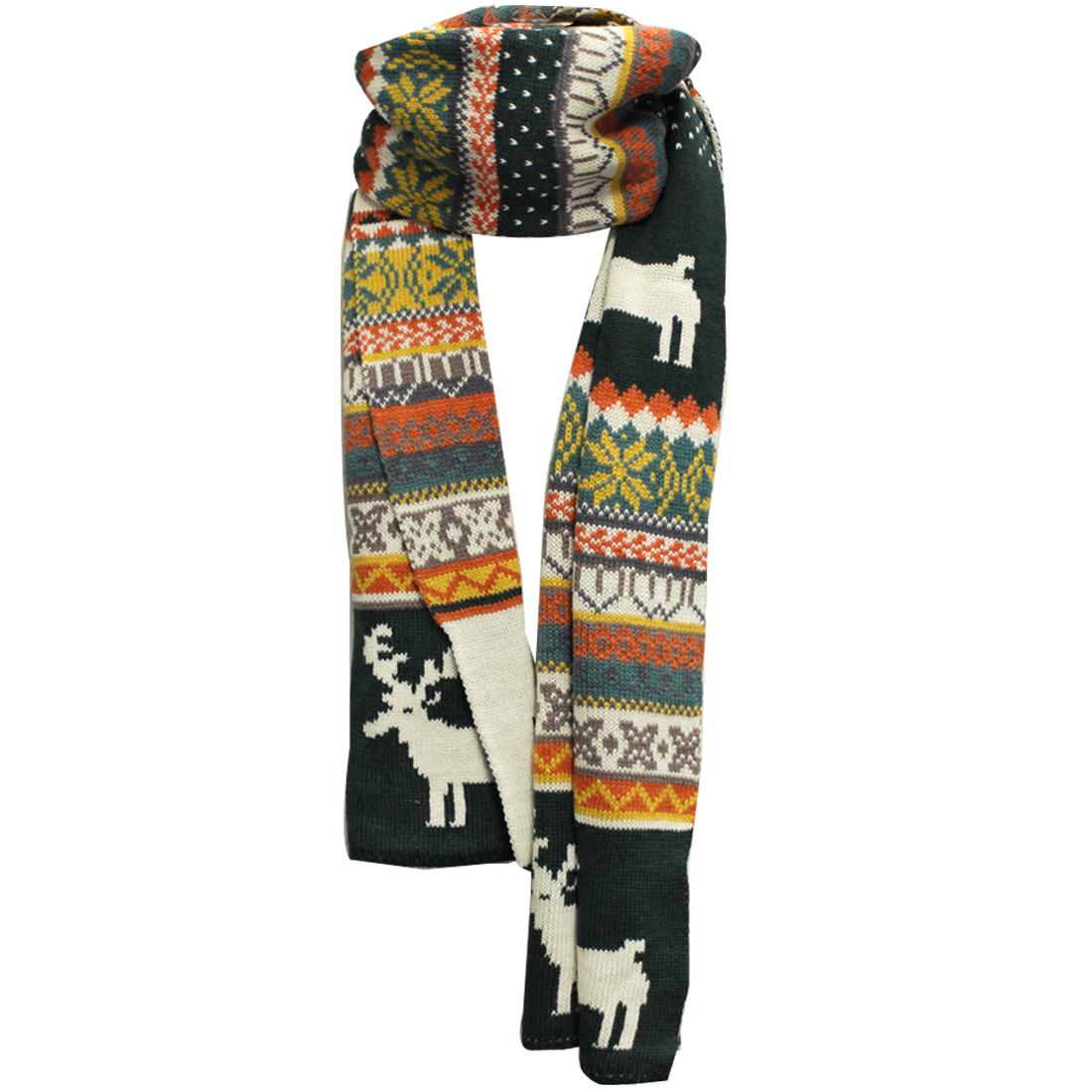 Mens Dark Green White Ethnic Style Long Shawl Wrap Knitting Scarf