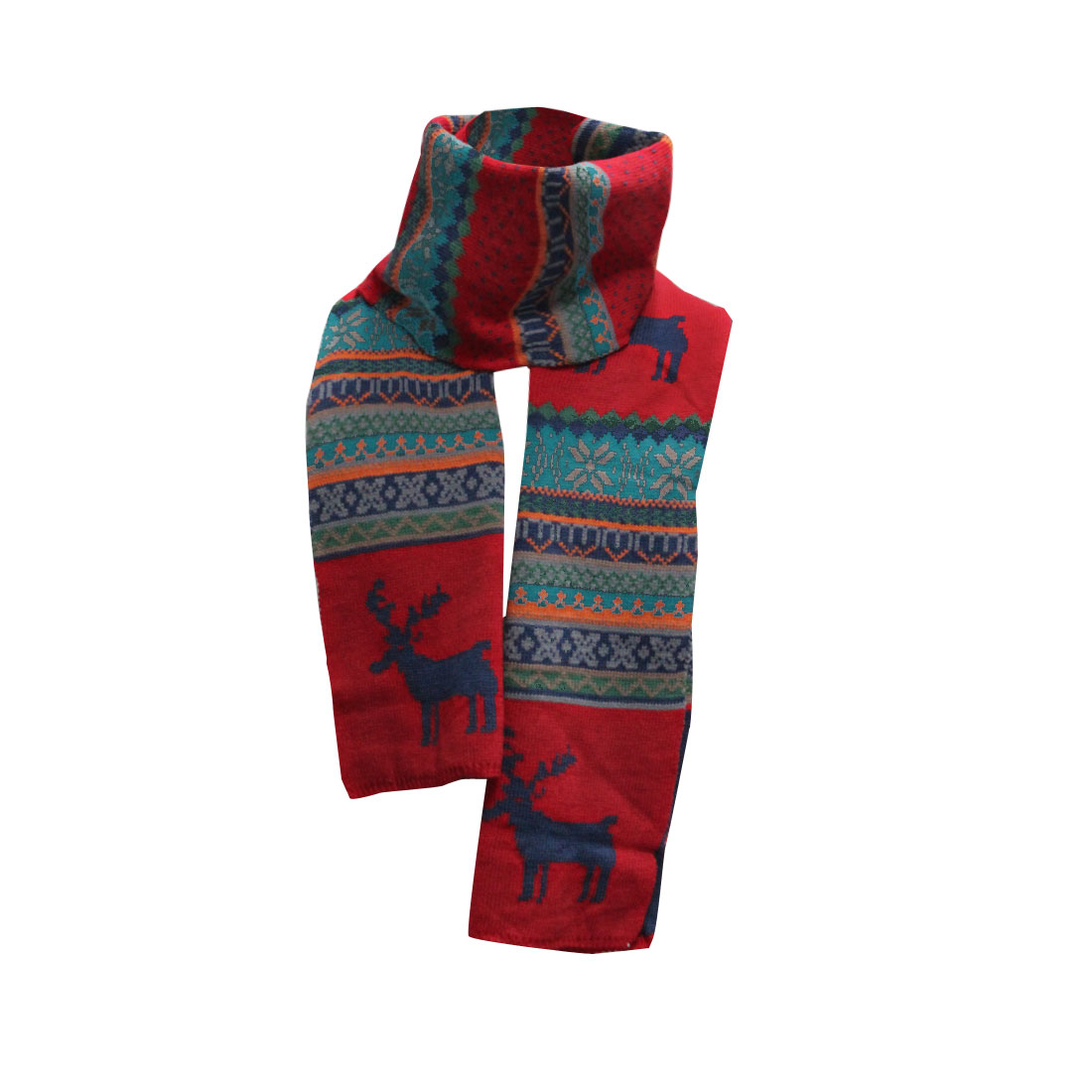 Mens Red Dark Blue Reindeer Pattern Crochet Knit Long Shawl Wrap Scarf