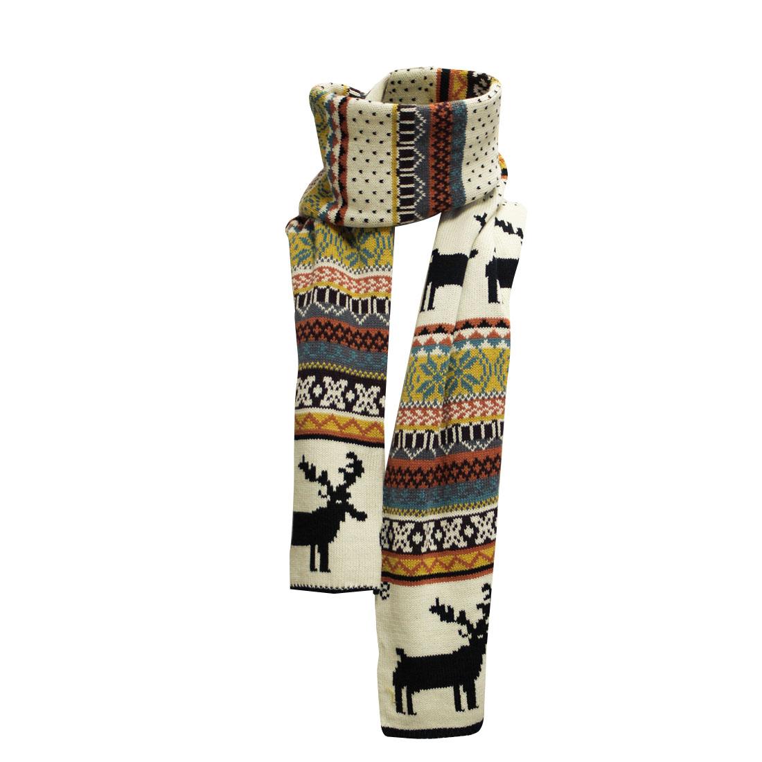 Mens Black White Classic Color Blocked Crochet Knitting Chrismas Scarf