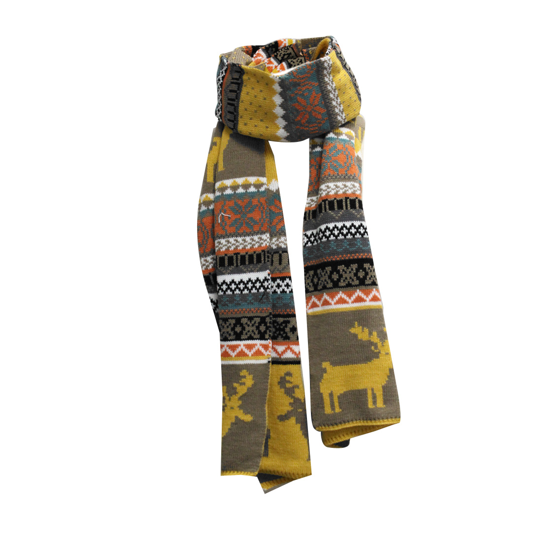 Mens Light Brown Yellow Reversible Knit Design Chrismas Fashion Scarf