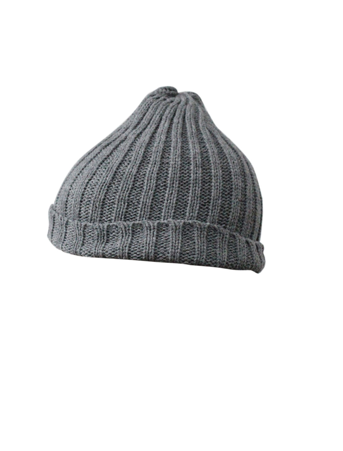 Men Women Light Gray Outdoor Stretchy Thick Rib Knit Beanie Hat