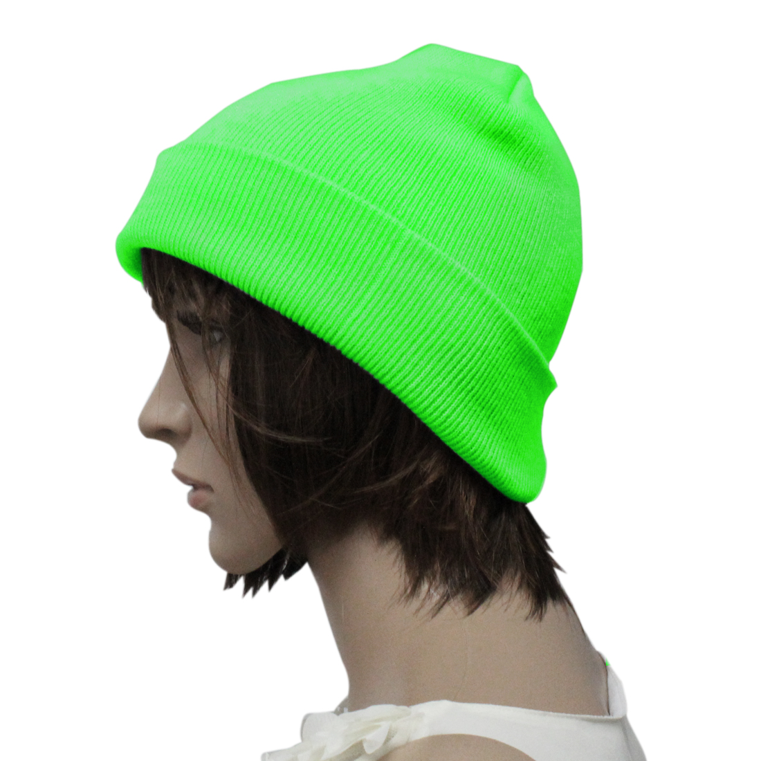 Mens Women Lime Green Simple Skiing Style Knitting Head Warmers Beanie Hat