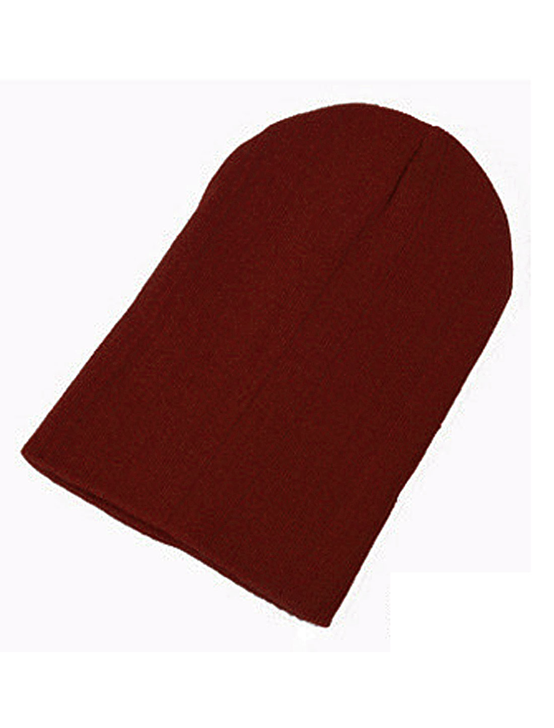 Unisex Burgundy Ribbing Detail Skiing Style Solid Color Cozy Beanie Hat