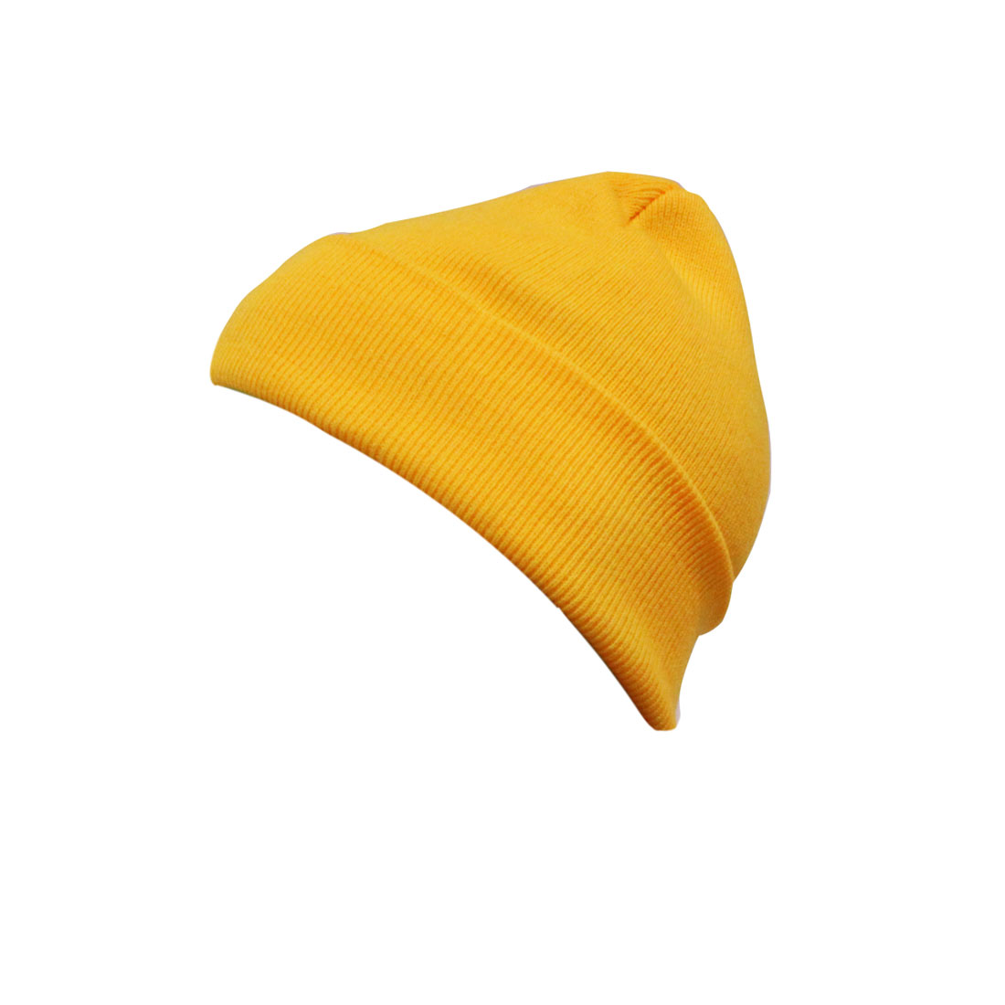 Mens Women Yellow Casual Stretchy Design Knitting Warm Basic Beanie Cap