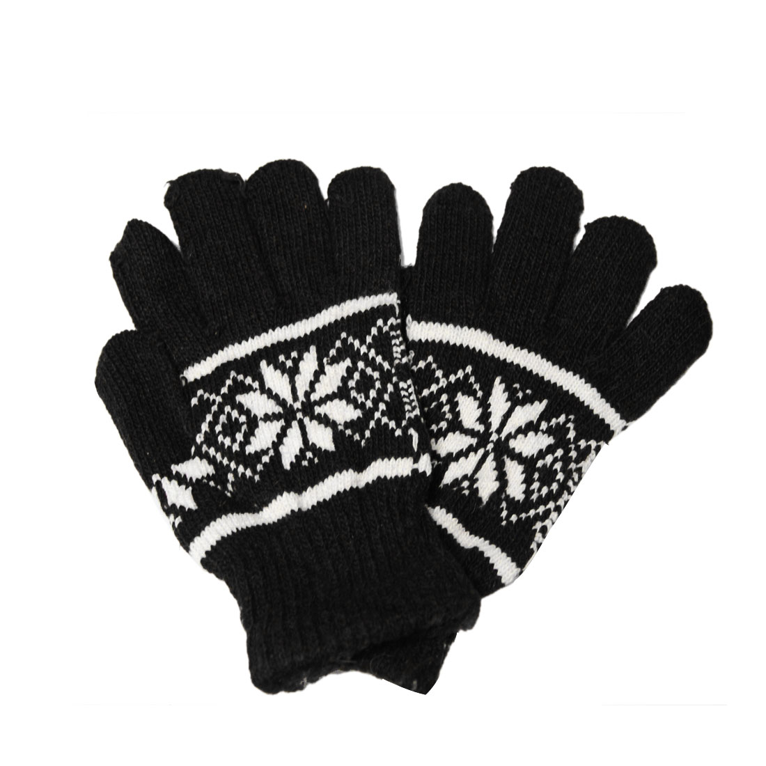 Unisex Black White Chrismas Nordic Pattern Warmer Knitting Gloves
