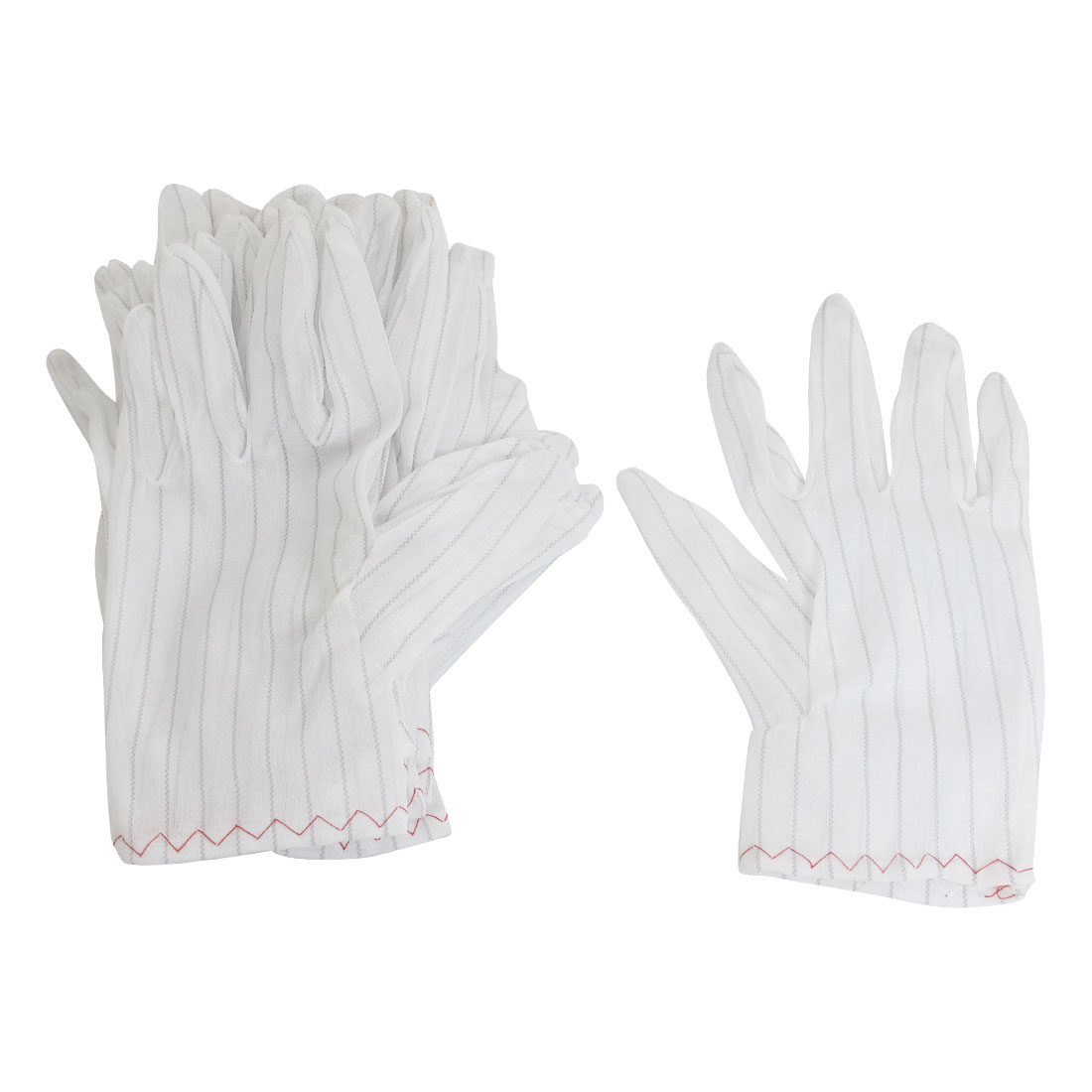 20 Pcs Gray Streak White Nylon Elastic Full Finger Working Gloves