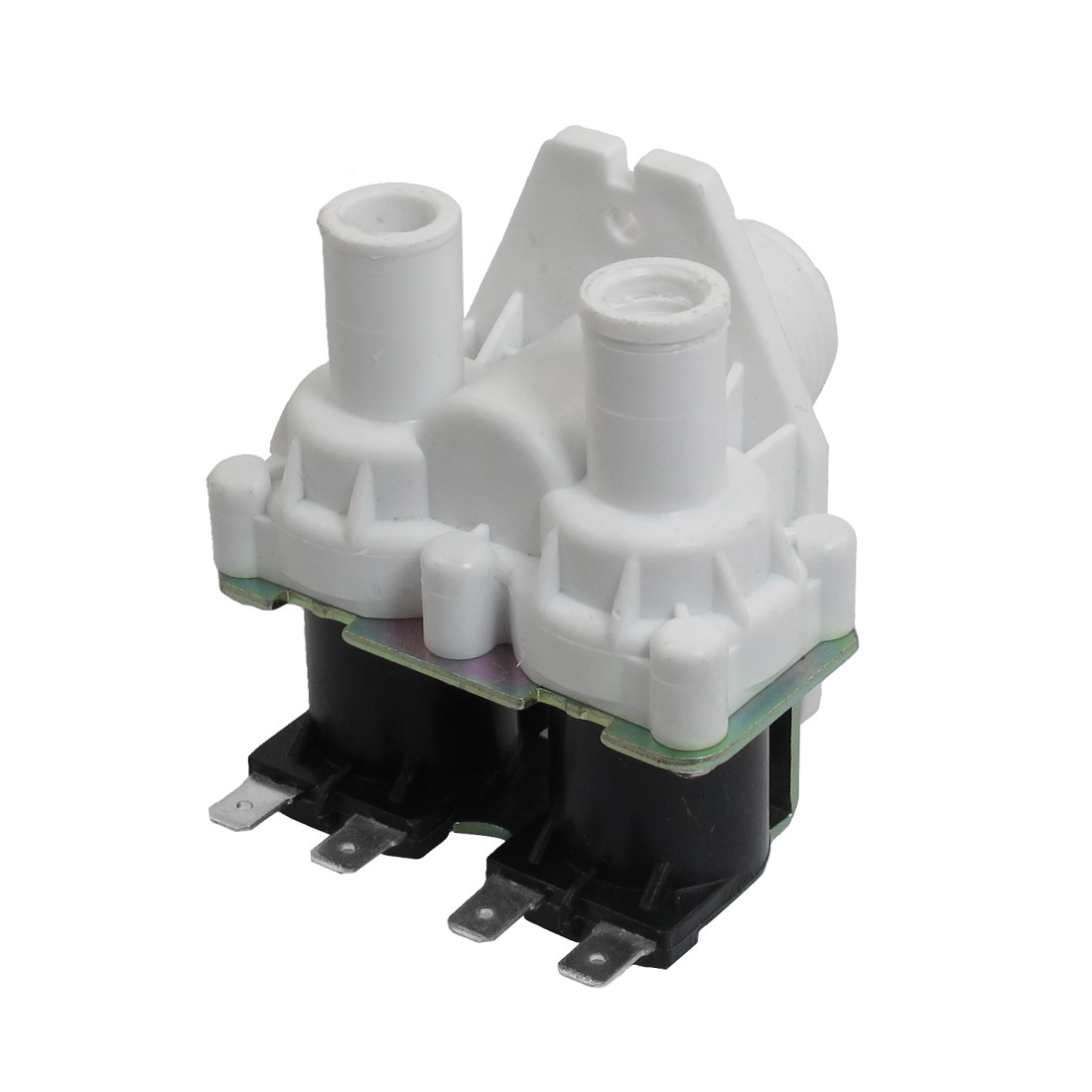 AC 220-240V 4 Pins White Double Tubes Water Inlet Solenoid Valve for Washer Machine