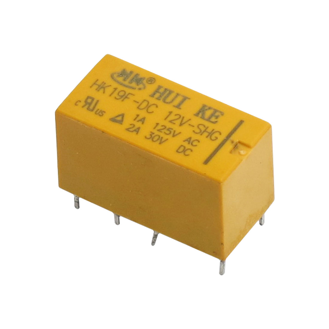 DC 12V Coil 8 Pins 2NO 2NC DPDT Yellow Shell PCB Type Power Relay HK19F