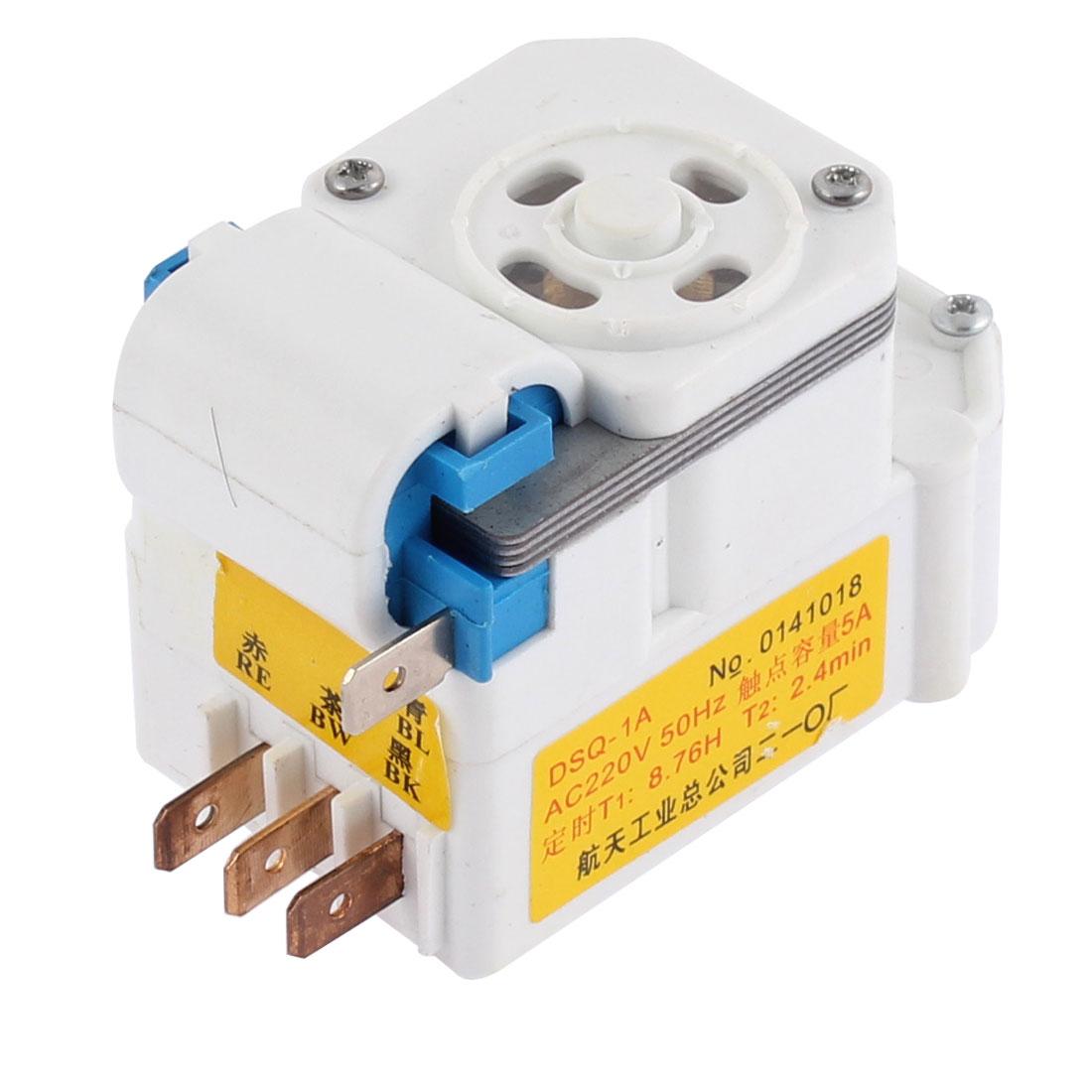 AC 220V 4 Terminals Plastic Case Refrigerator Fridge Defrost Timer White