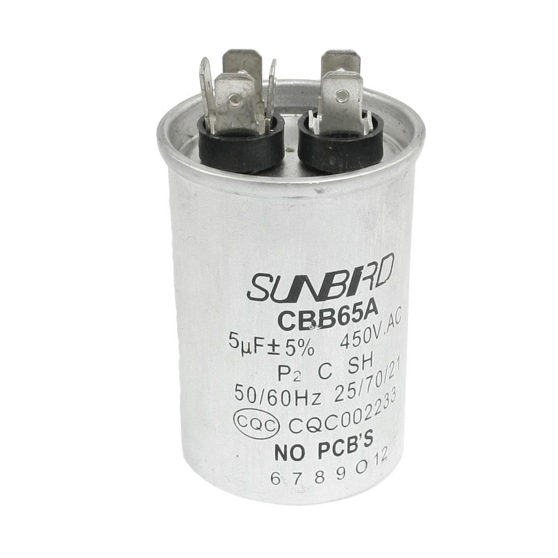 CBB65A 5uF 450V AC 50/60Hz Metallized Polypropylene Film Motor Capacitor