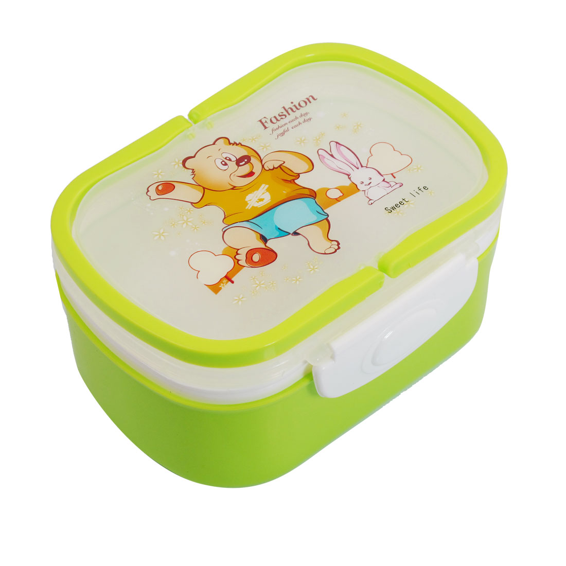 Travel Green Cartoon Bear Pattern 2 Compartments Lunch Box w Spoon