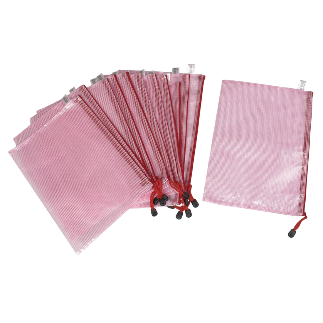 Student Office A4 Paper Document Zippered Folders Pockets Bags Pink 12pcs
