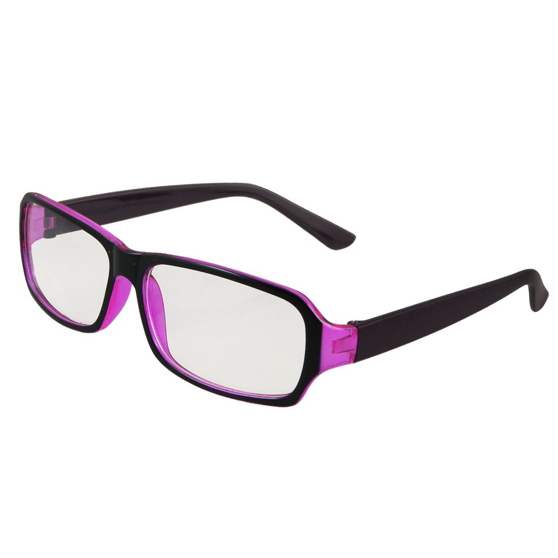 Ladies Black Purple Plastic Full Frame Single Bridge Clear Lens Plain Glasses