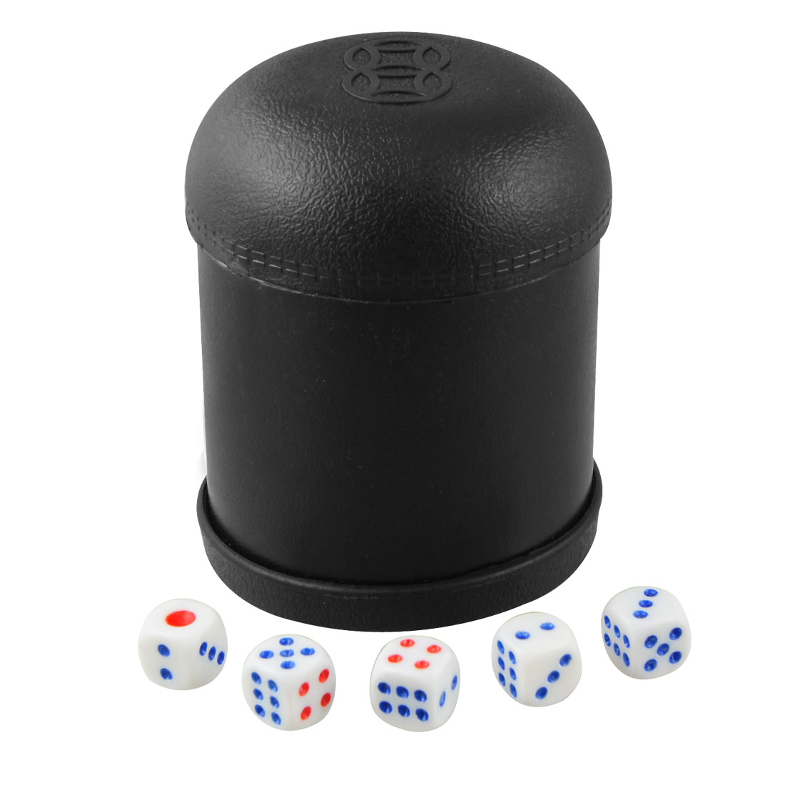 Parties Game Black Plastic Shaker Cup w 5 Pcs Red Blue Dot Dice