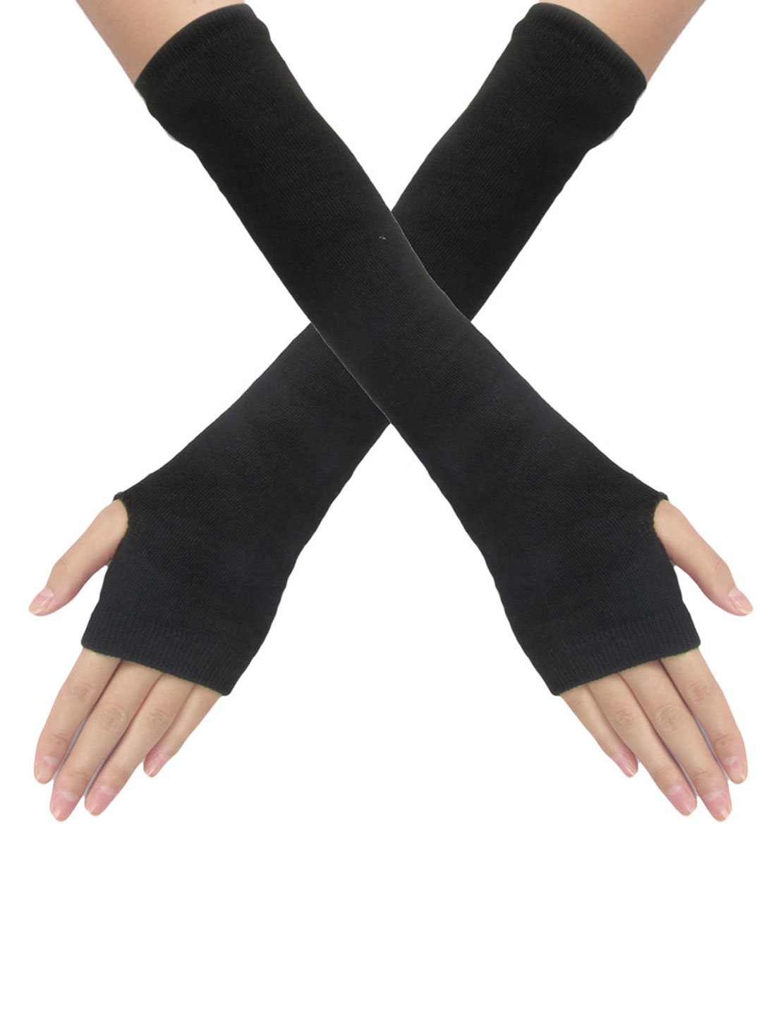 Women Elastic Black Knitted Fingerless Thumbhole Arm Gloves Pair