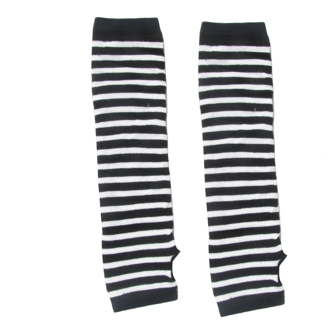 Ladies Black White Stripes Pattern Fingerless Winter Elastic Long Gloves Pair