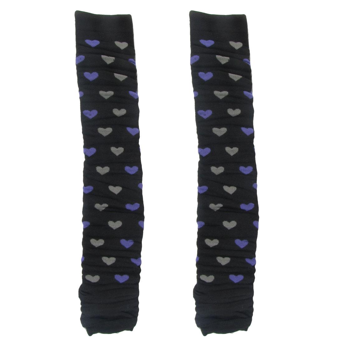 Pair Gray Purple Heart Print Black Knitted Leg Warmers Socks for Ladies