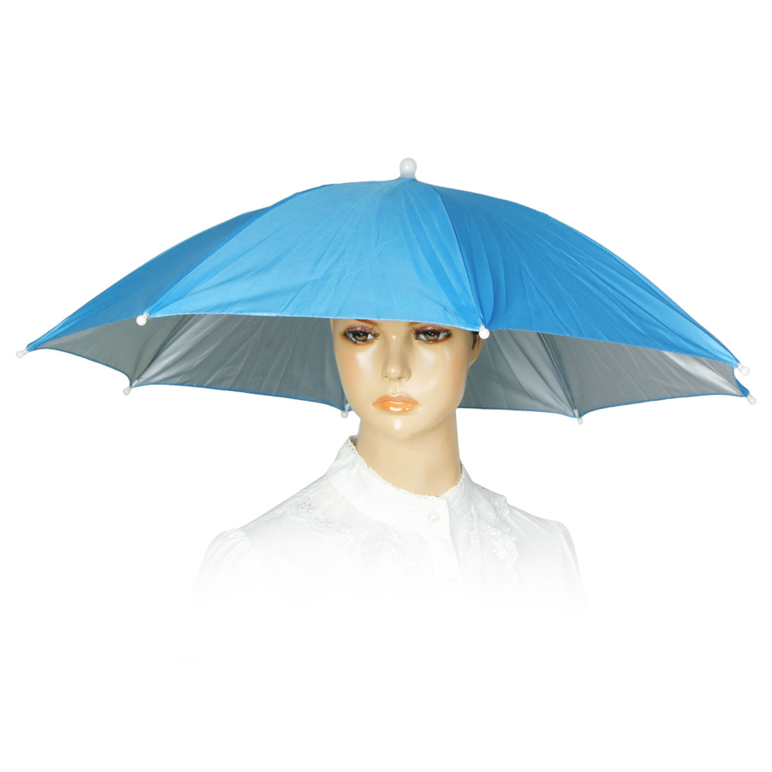 Blue Elastic Band Sun Rain Umbrella Hat for Picnic Camping Fishing Beach