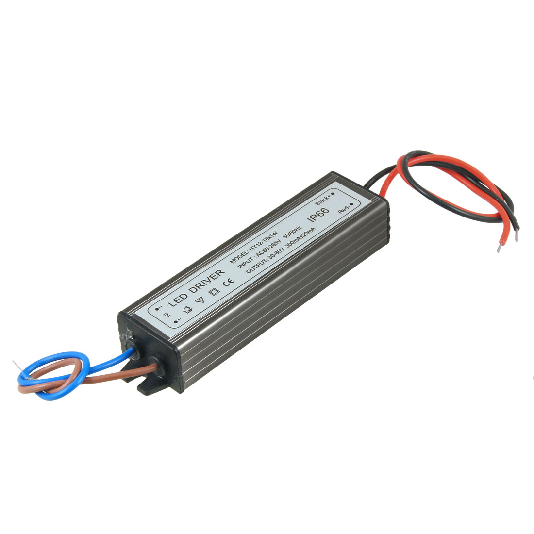 Waterprooof Power Supply Driver for (12-18)x1W LED 30-60V 300mA AC 85V-265V