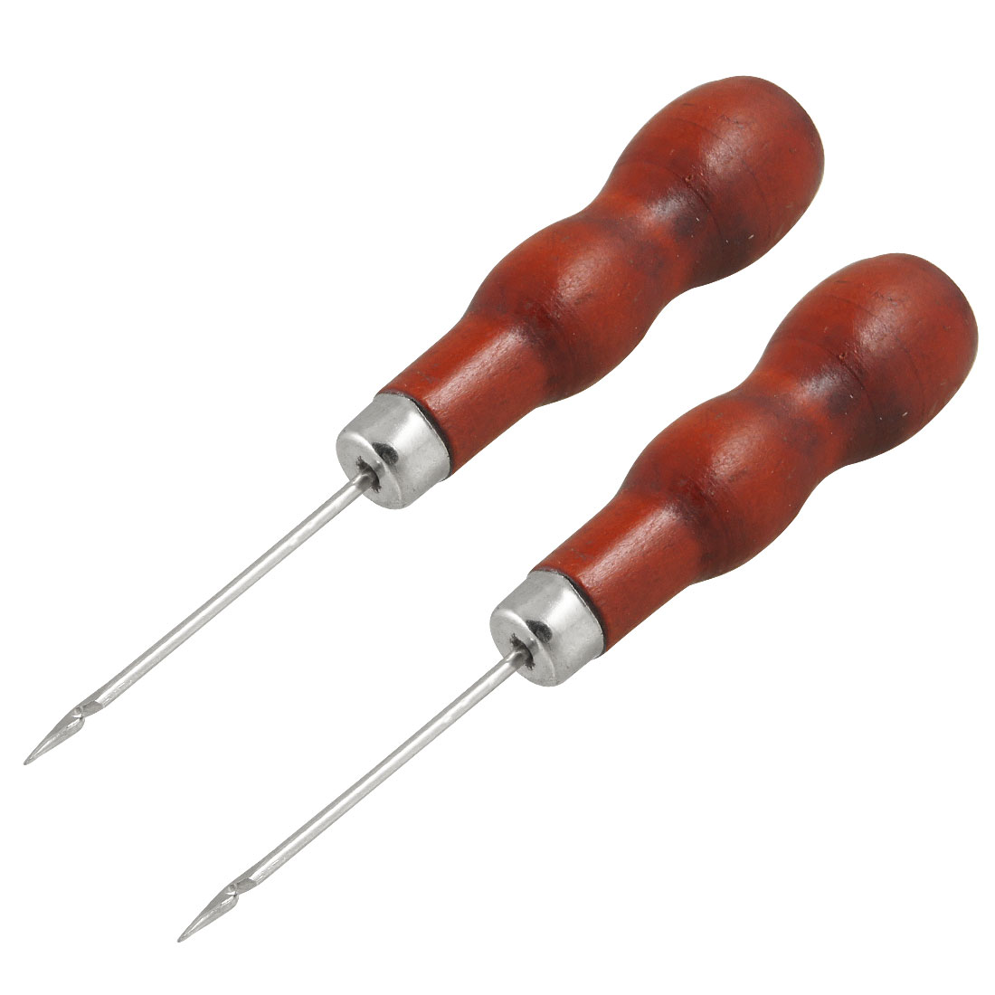 2 Pcs Red Nonslip Handle Leather Canvas DIY Sewing Awl Needle Tool