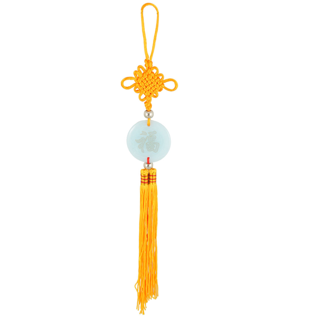 Yi Sheng Ping An Print Faux Jade Tassel Chinese Knot Vehicles Ornament Yellow