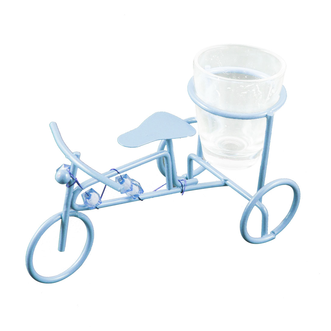 Blue Metal Bike Shaped Clear Wine Cup Shelf Ornament Gift Artware
