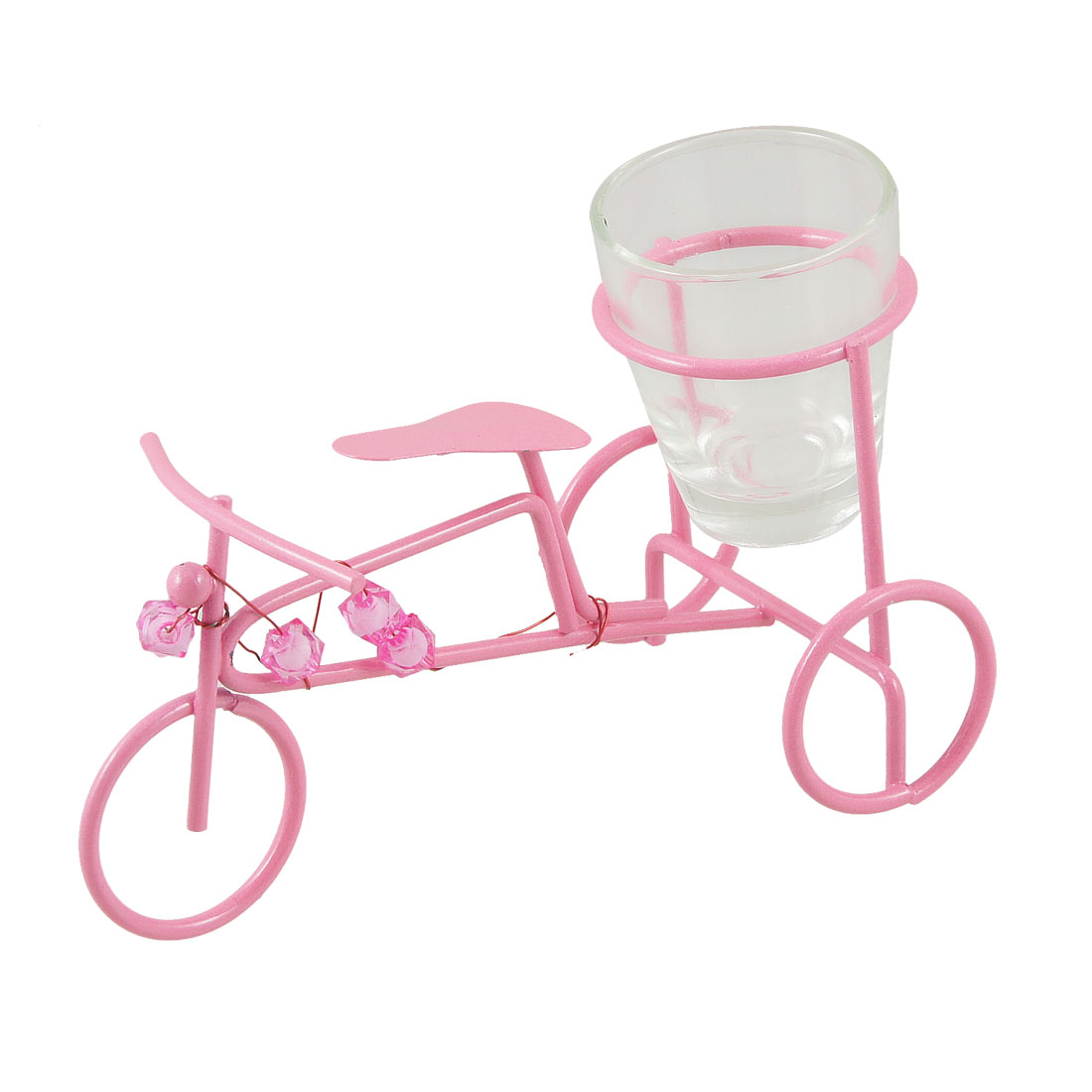 Pink Metal Bike Shaped Design Wine Cup Adornment Artware w Clear Box