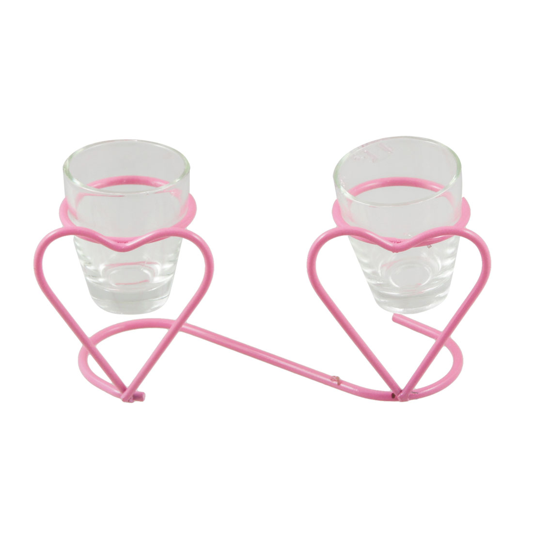 Pink Transparent Heart Wine Cups Shelf Ornament Gift Artware
