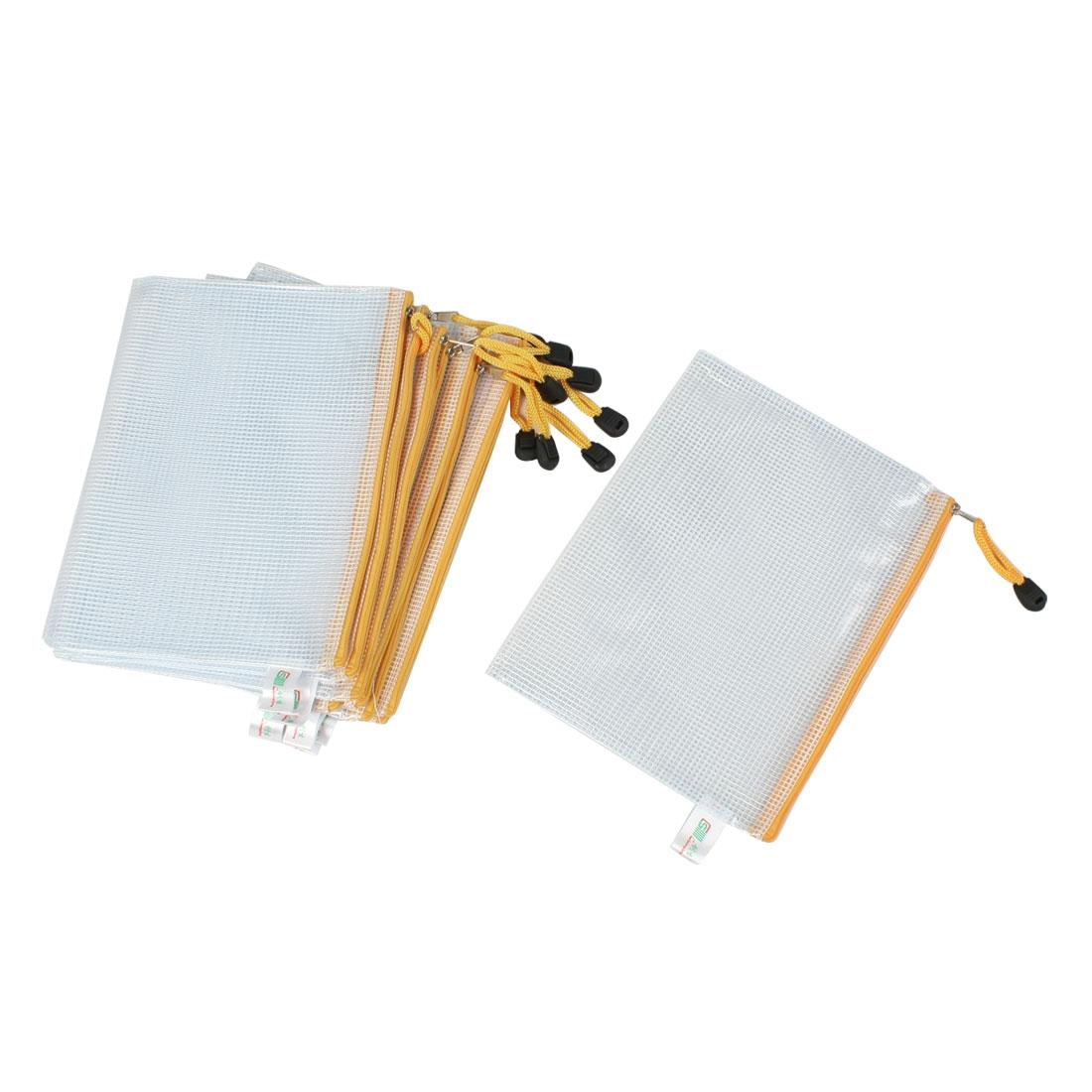 10 Pcs A5 Grid Yellow Zipper Closure File Folders Pocket Clear